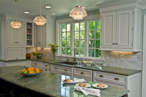 Slab Sunday Costa Smeralda Granite Granite Countertops Kitchen Green Granite Countertops White Kitchen Traditional