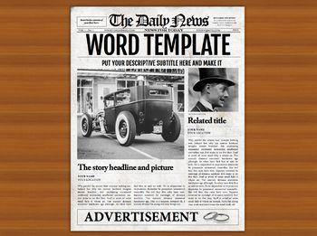 Microsoft Word Newspaper Template Front Page Only  Microsoft