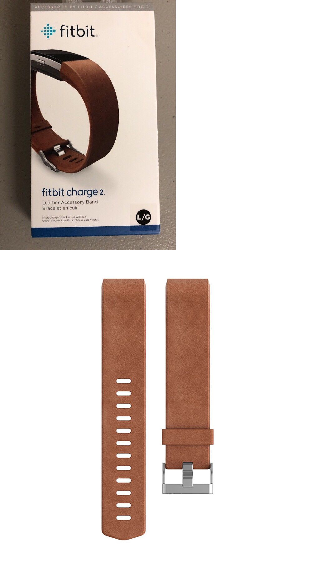 Fitbit charge brown leather accessory band bracelet large fit