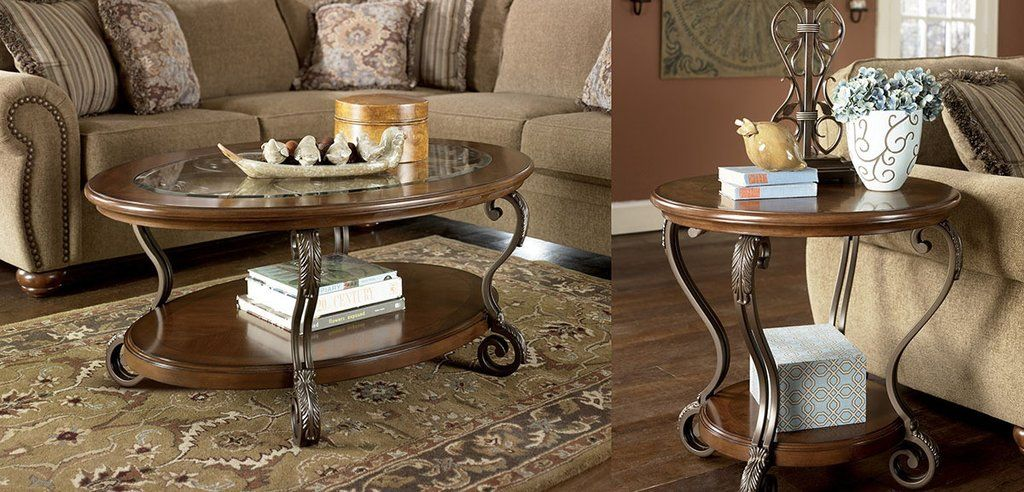 Nestor Glass Wood Coffee Table Set By Ashley Furniture With