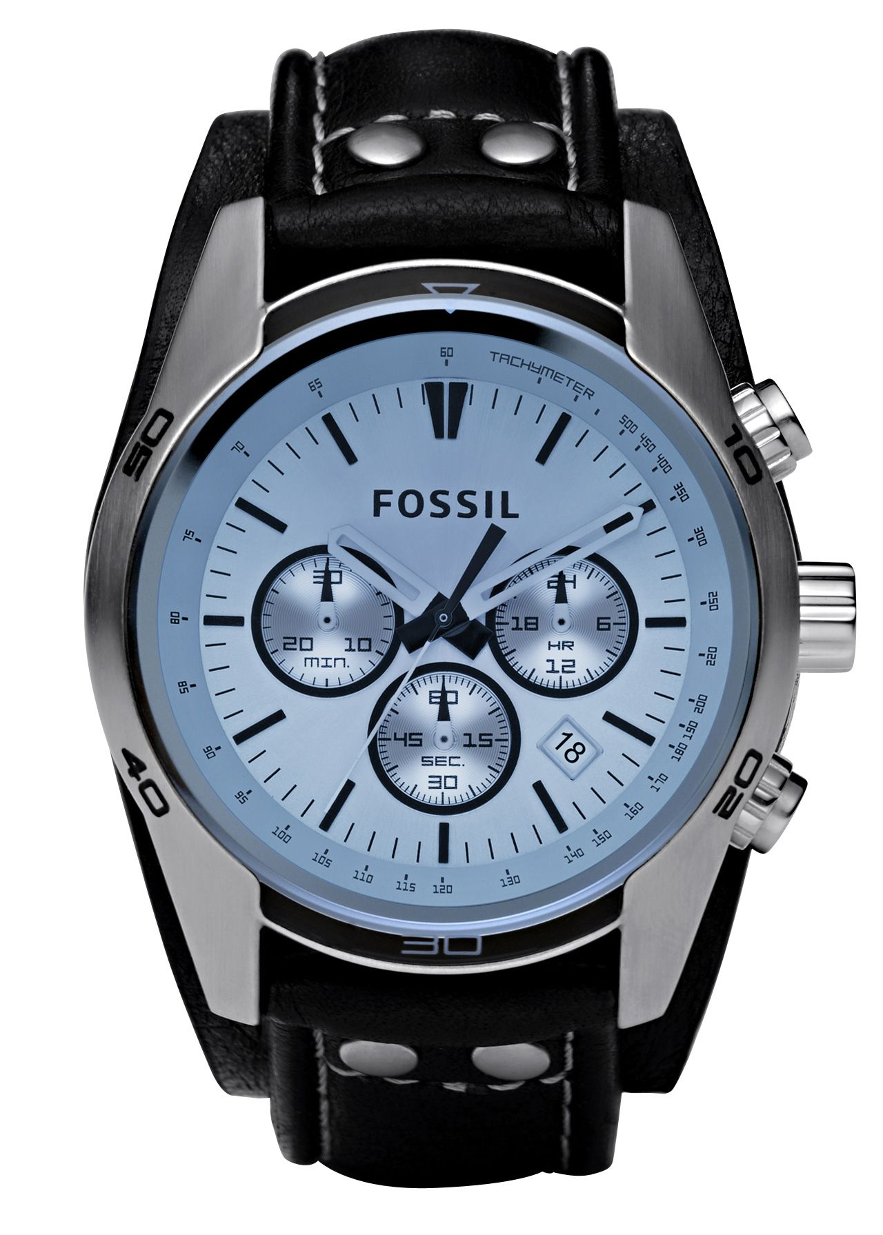 5a5ac1887b46 Fossil Sport Cuff Chronograph Leather Watch – Black CH2564 £105.00 Go  casual with this stainless