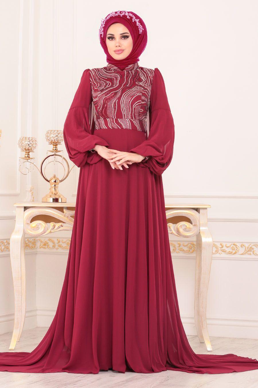 Tesetturlu Abiye Elbise Pelerinli Bordo Tesettur Abiye Elbise 3726br Tesetturisland Com Elbise Hijab Chic Giyim