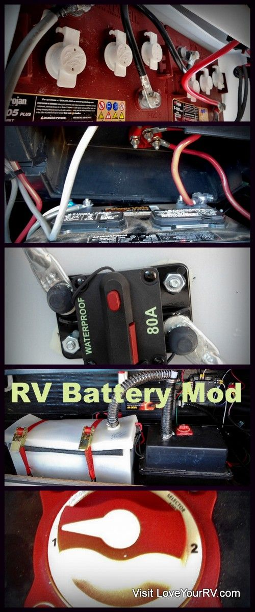 I added to the standard 12v deep cycle battery that came with the RV with 2 of the T-105 Trojan Six Volt golf cart type batteries. This update more than tripled my amp hour capacity from 85 ah to 310 ah and gave me a very robust dual battery bank system. - http://loveyourrv.com/trojan-battery/