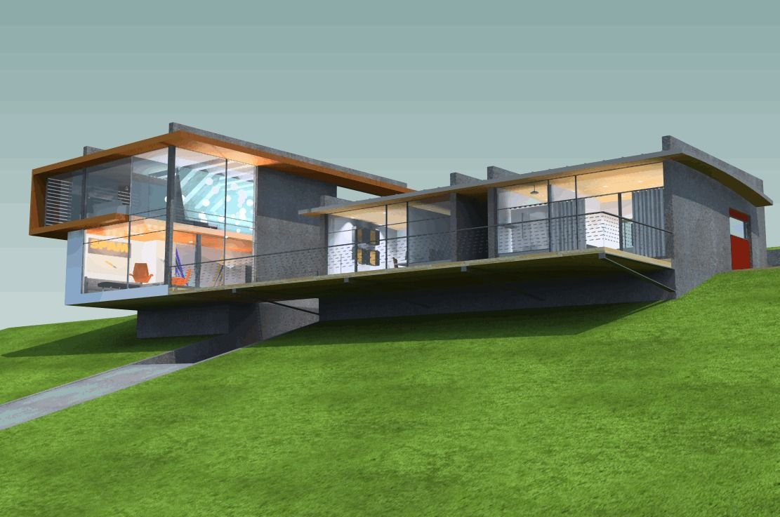 Tiered u shaped slope home features exposed steel elements modern house design steel structure and steel