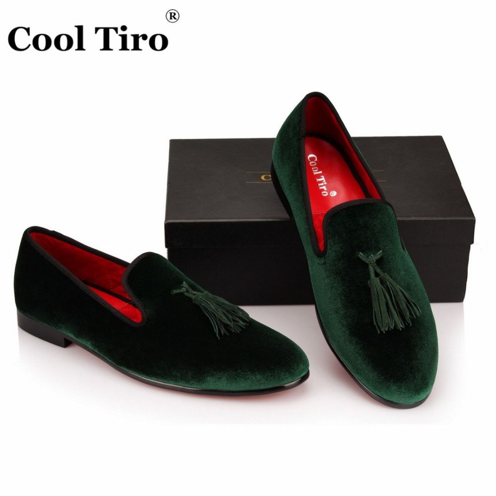 471038edb1c COOL TIRO Green Velvet Slippers With Tassel Loafers Men s Flats Wedding and Party  Men Dress shoes