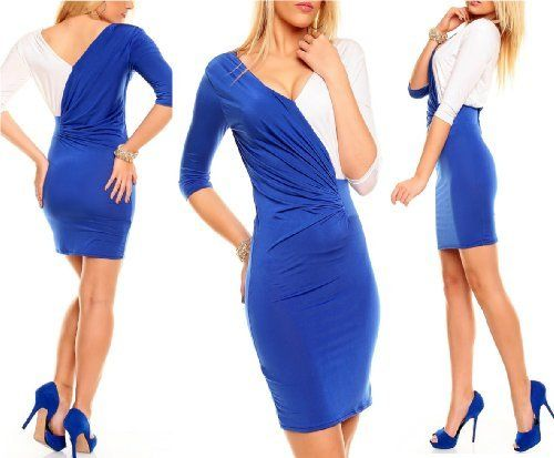 blue white dress long sleeve mini or as top cocktail dress club ...