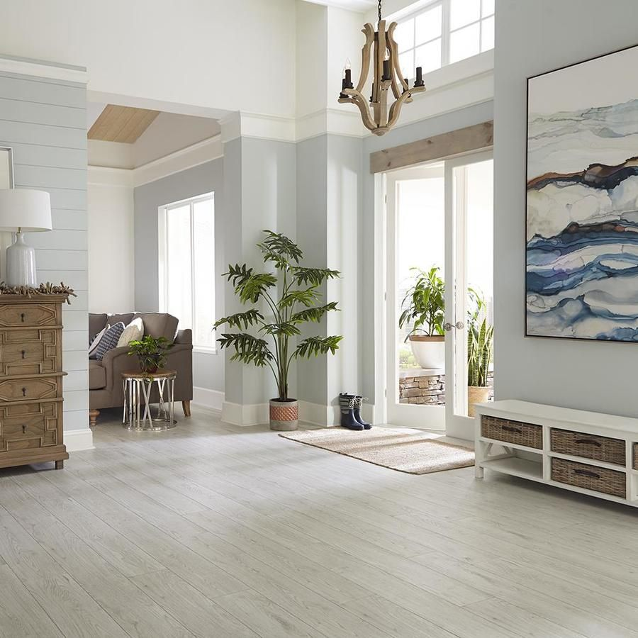 Allen Roth Larimar Oak 7 59 In W X 4 23 Ft L Embossed Wood Plank Laminate Flooring Lowes Com Laminate Flooring Master Bedroom Remodel Oak Laminate