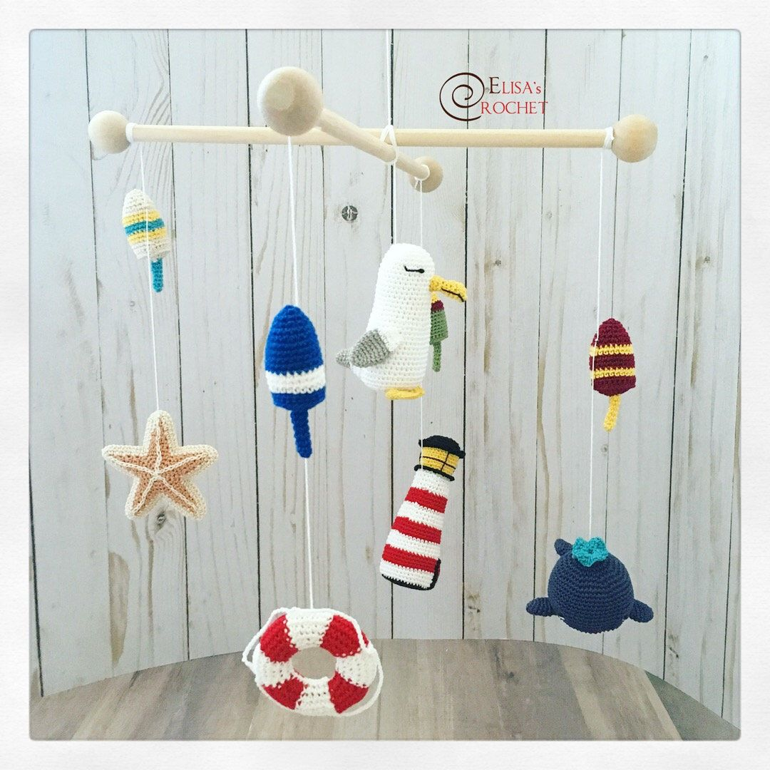 Crochet Pattern Nautical Crib Mobile Lighthouse Whale Etsy