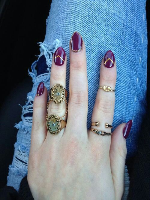 Maroon almond nails
