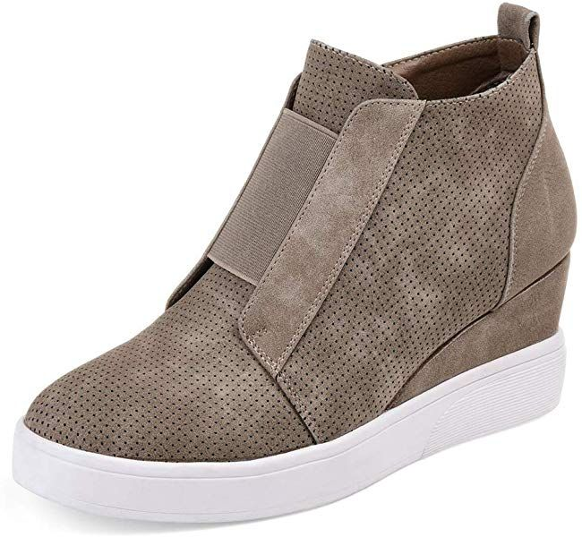 ae7de3b36bd75 Amazon.com | DEARWEN Women's Heel Platform Casual Sneakers Zipper ...
