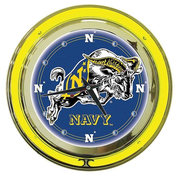 Trademark Commerce LRG1400-USNA United States Naval Academy Neon Clock - 14 inch Diameter