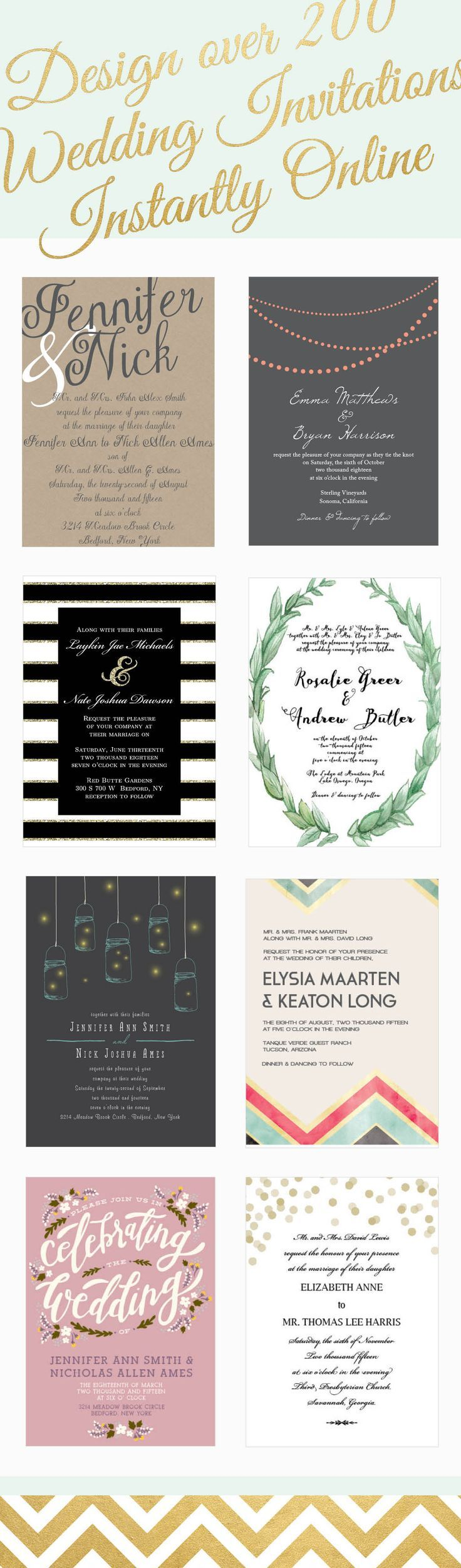 Over 200 wedding invitations that can be instantly designed online ...