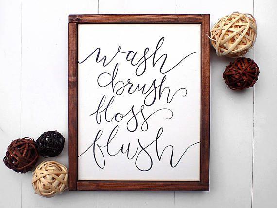 Bathroom Art Wash Brush Floss Flush Decor Artwork Relax Sign