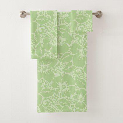 Tropical Hibiscus Bath Towel Set Floral Style Flower Flowers