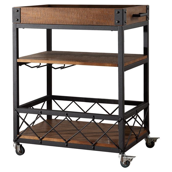 Industrialchic Bar Cart  Decor & Furniture  Pinterest Interesting Rustic Kitchen Cart Review