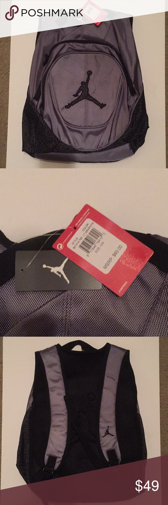 131a9562c682b0 NEW Jordan Brand Backpack Brand new gray and black Jordan Brand Backpack!  The tags are still attached and read  60! Jordan Bags Backpacks