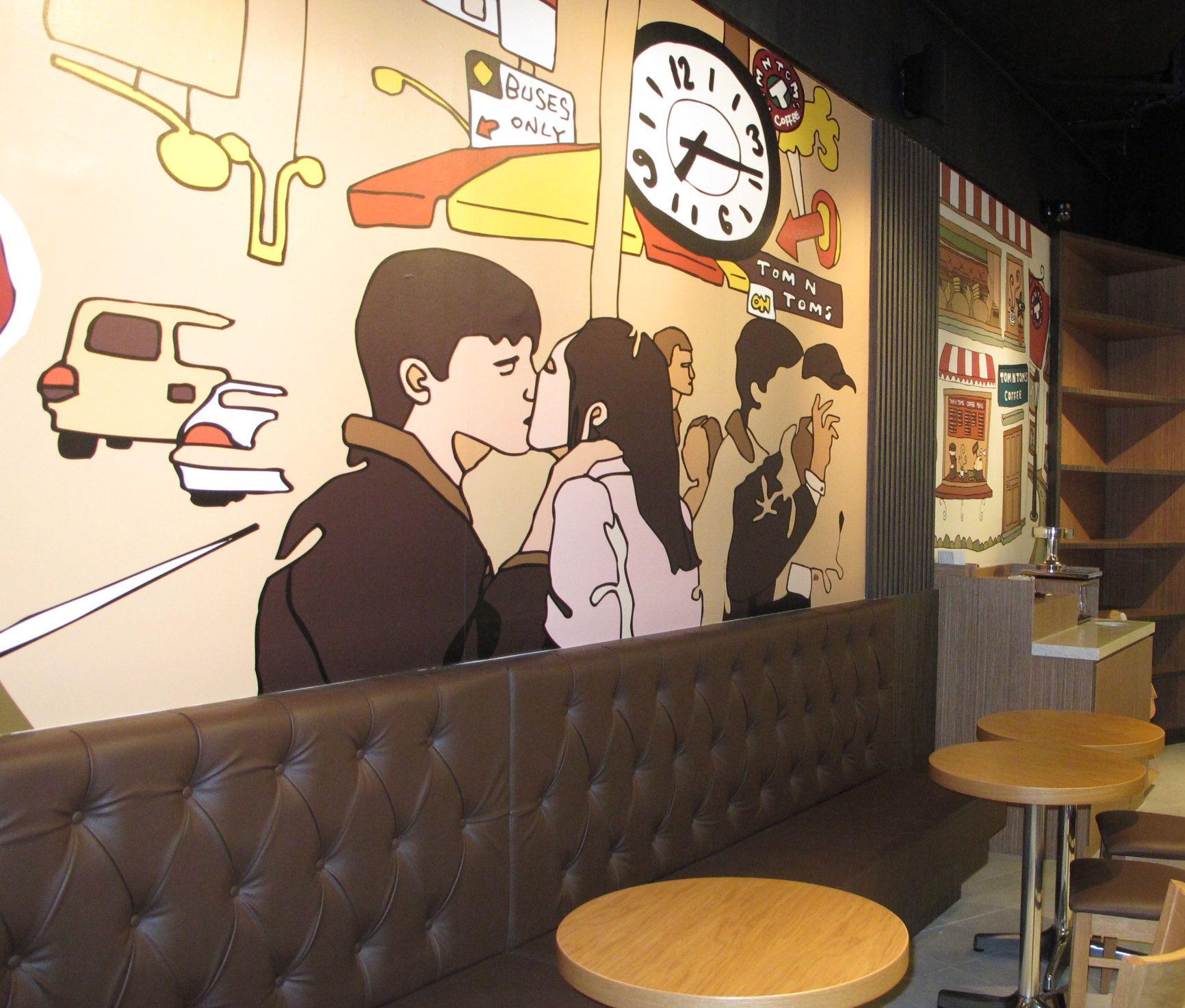 coffee bar mural design inside tom n toms, south korean leading