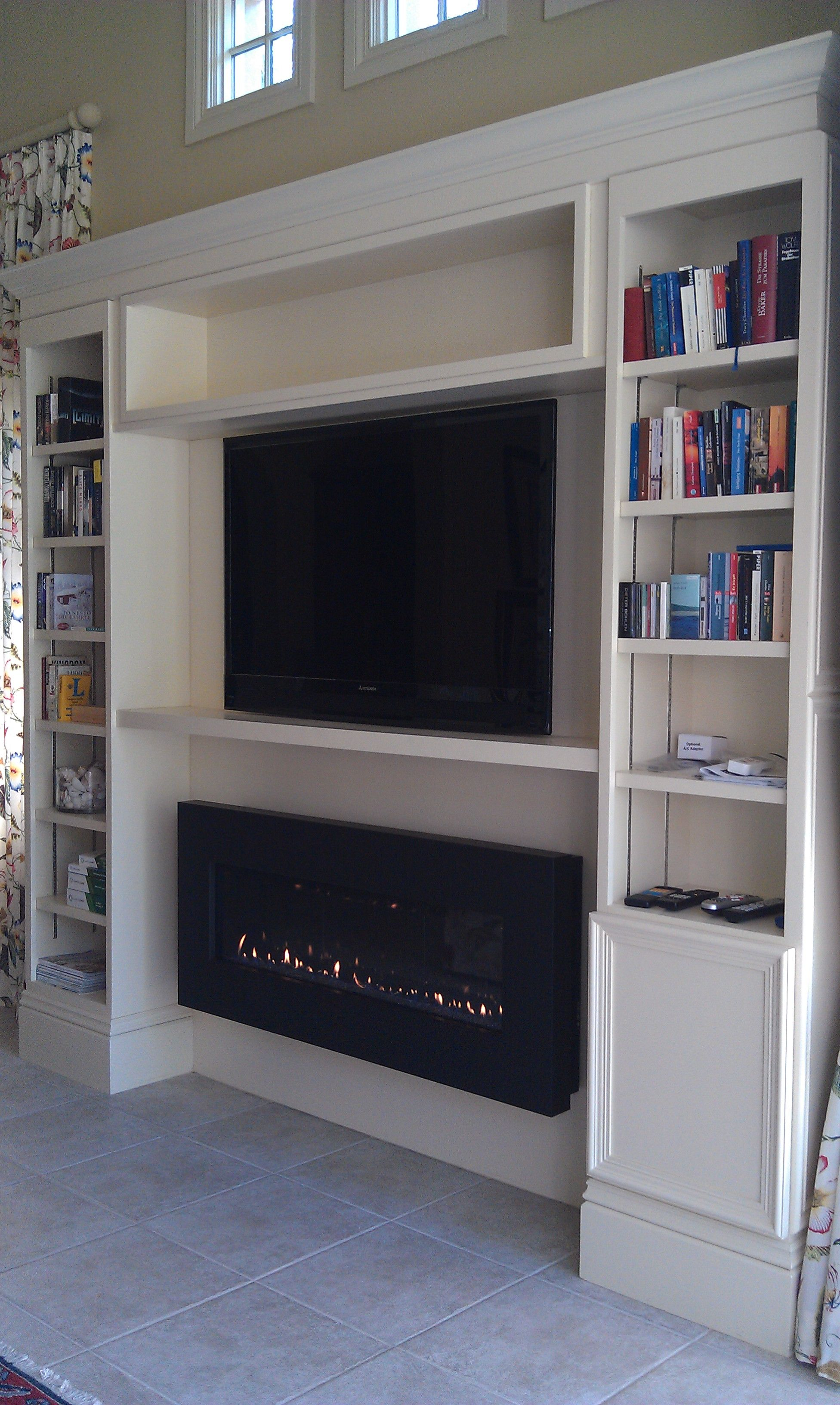 Built In Bookshelf With Entertainment Center And