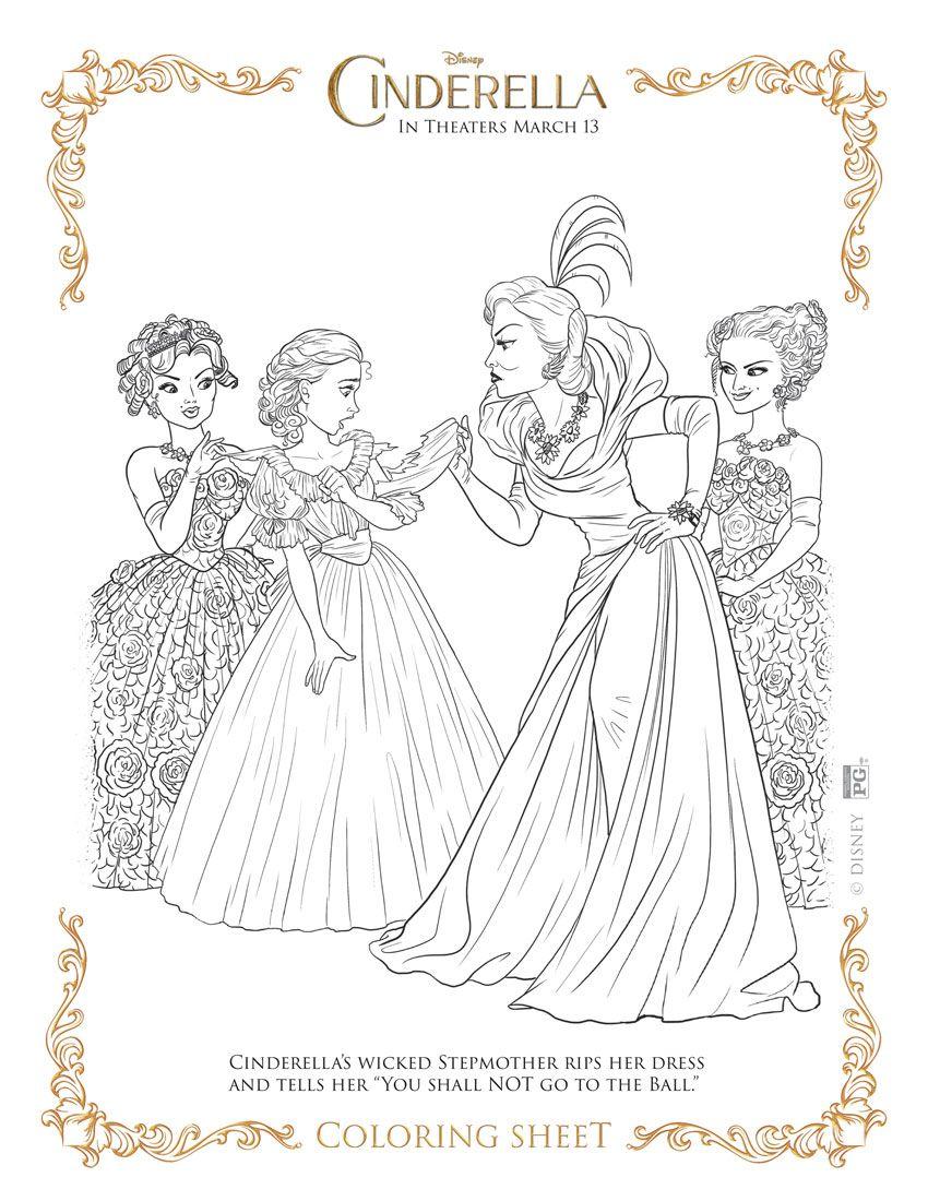 Mom's Coloring Pages: Disney Princess Coloring: Cinderella's Step ... | 1100x850
