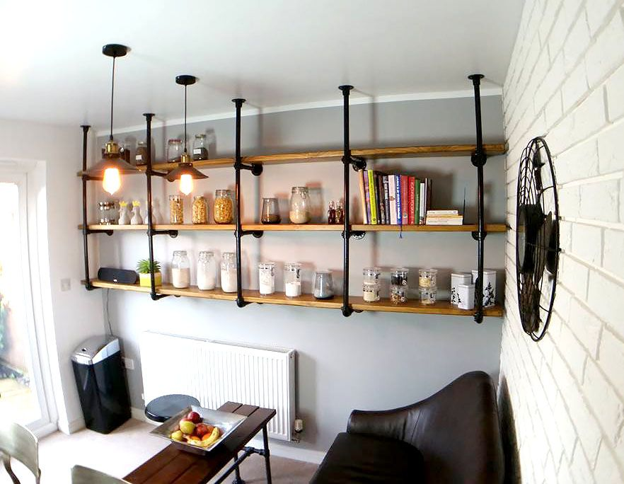 Diy Kee Klamp Kitchen Shelves For An Industrial Style Kitchen