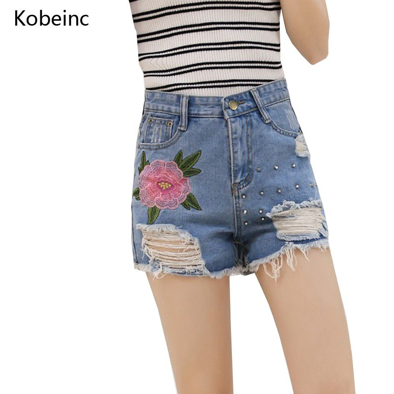Retro Embroidery Flowers Denim Shorts Womens 2017 Summer Jeans Short Female S~XL Streetwear Rivets Holes Pantalones Cortos Mujer