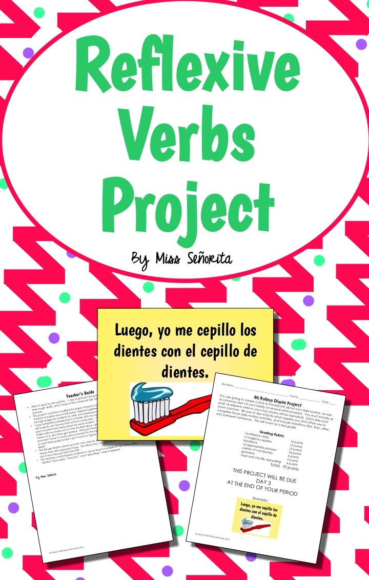 spanish reflexive verbs project | spanish learning | pinterest