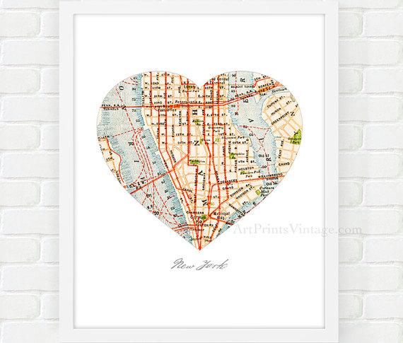 New York City Map Map Heart Print Manhattan Map Nyc Wall Art