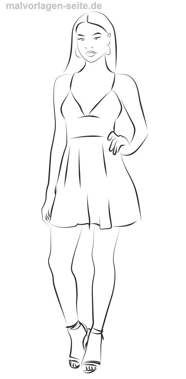 malvorlage kleid mit heels  kleidung  kostenlose
