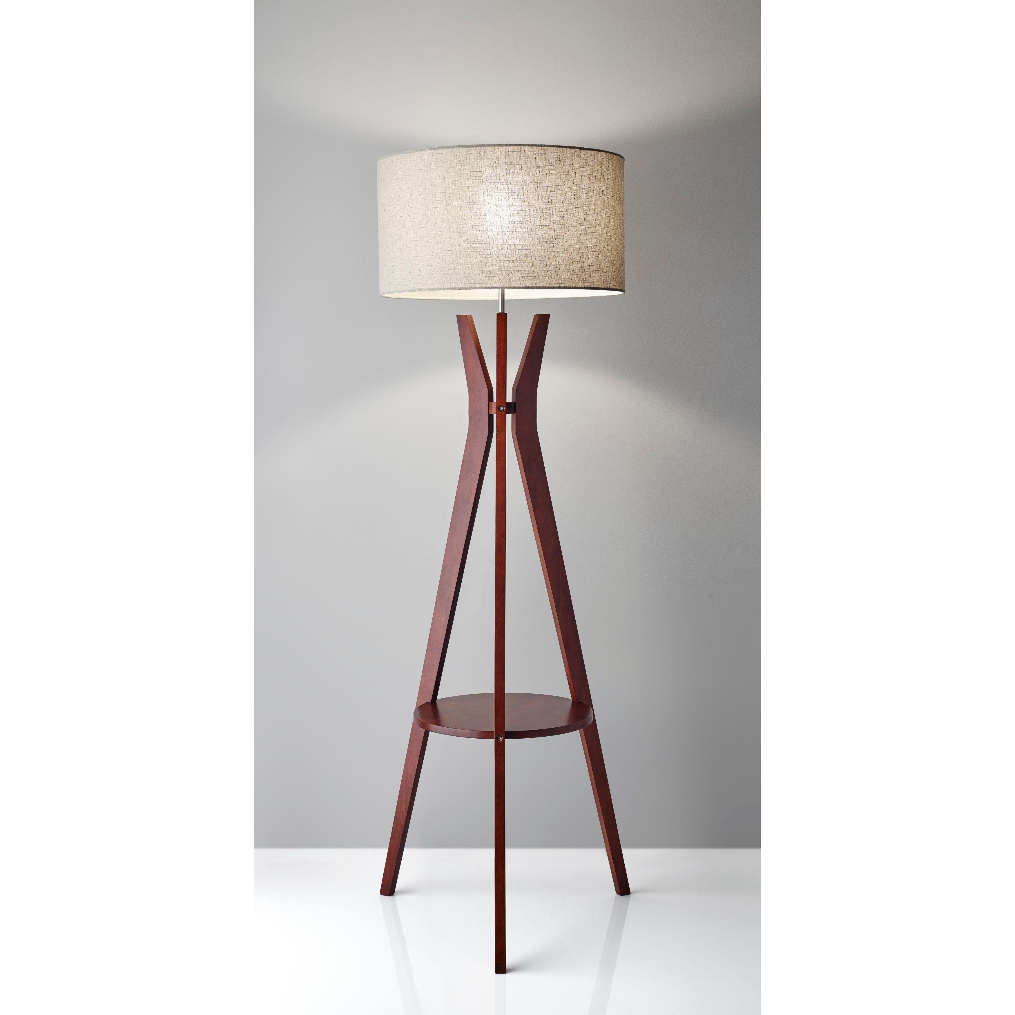 Adesso Bedford Solid Walnut Brown Wood Tripod Shelf