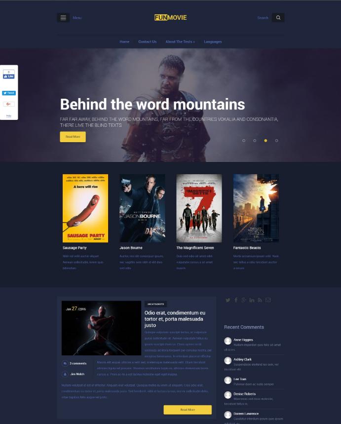 15 Best Free Wordpress Movie Themes Utemplates Wordpress Theme Responsive Wordpress Theme Free Responsive Woocommerce Themes