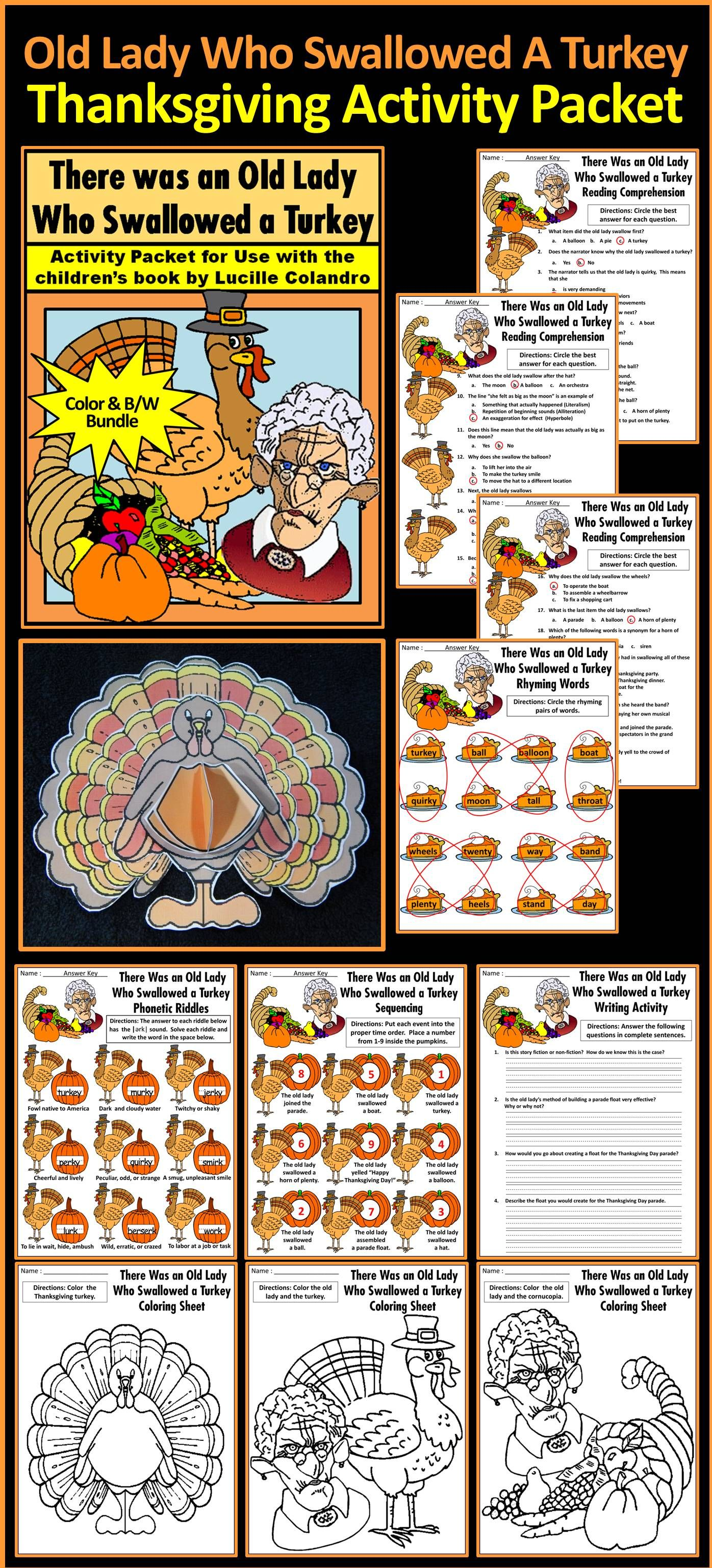Thanksgiving Activities Old Lady Who Swallowed A Turkey