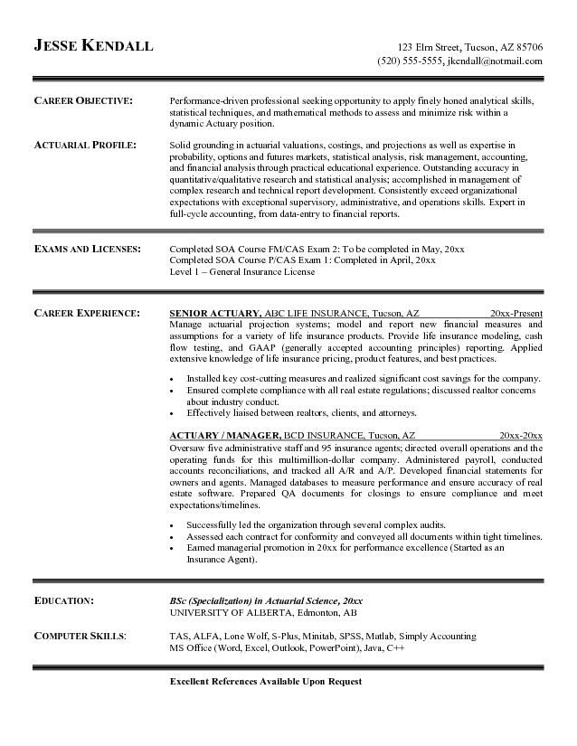 Free Actuary Resume Example | Resume | Resume references