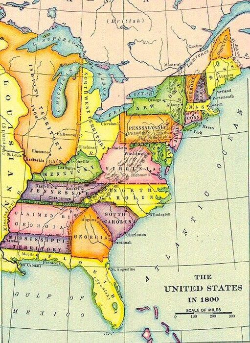 Map Of America In 1800.1800 Us Genealogy Historical Maps Map Family Genealogy