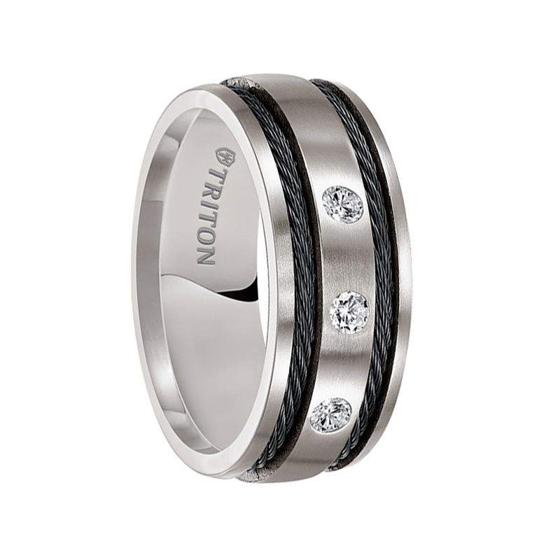 Triton Rings Warren Domed Brushed Anium Wedding Band With Dual Offset Black Steel Cable Inlay