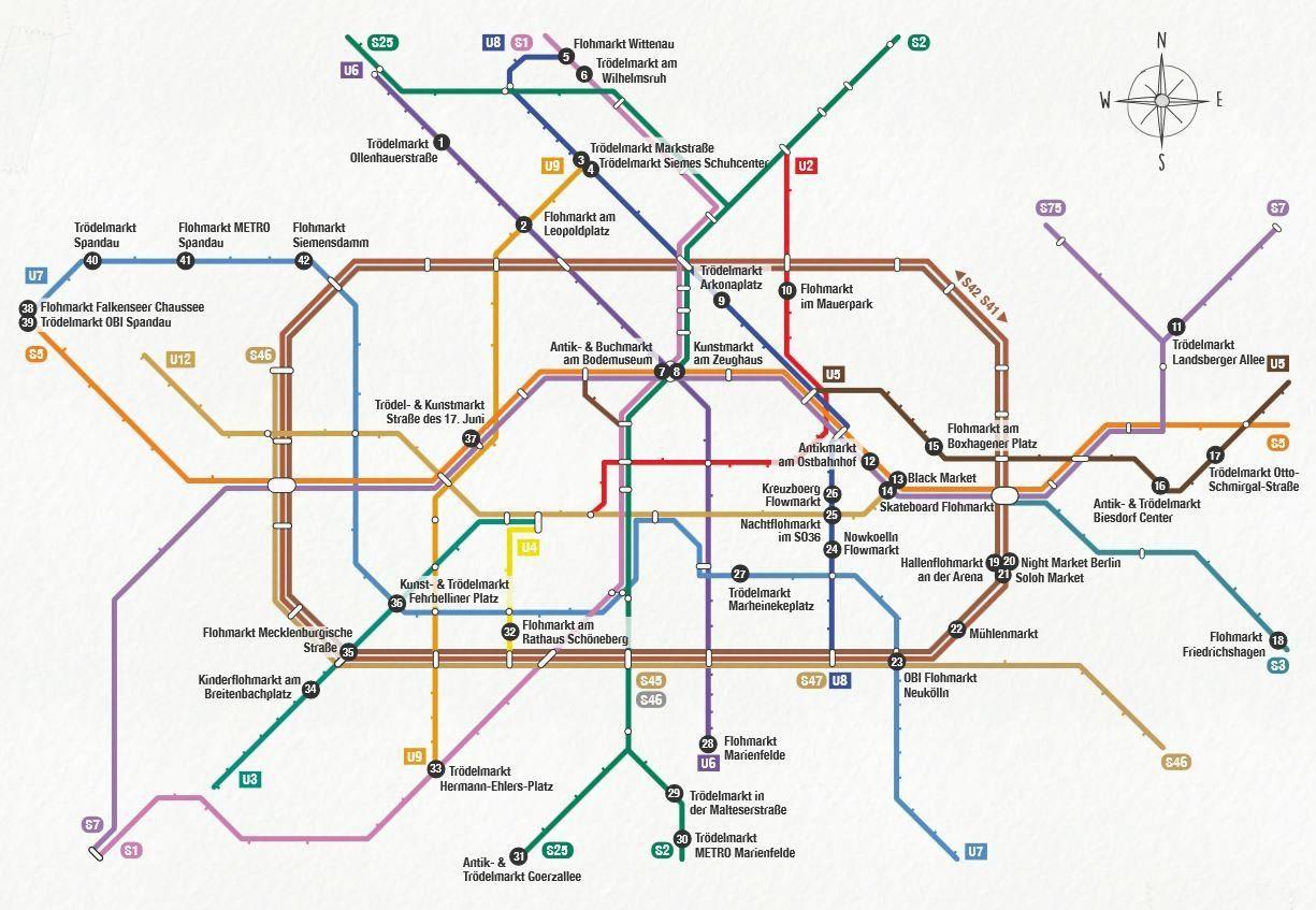 Bummeln Und Stobern In Berlin S Bahn Karte Zeigt Berliner Flohmarkte S Bahn Berlin Berlin S Bahn