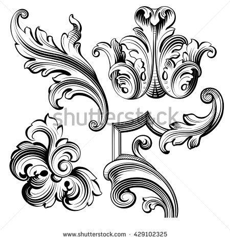 Vintage Baroque Victorian Frame Border Monogram Floral Ornament Leaf Scroll Engraved Retro Flower Vintage Flower Tattoo Ornament Drawing Vintage Floral Pattern