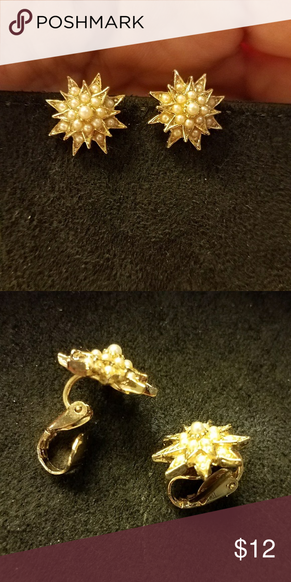 """VTG Seed pearl clip earrimgs These are very pretty, unmarked clip earrings. Though the seed """"pearls"""" are syntgetic, they have a lovely luster, and are all intact. These dainty earrings measure one half inch each. Vintage Jewelry Earrings"""