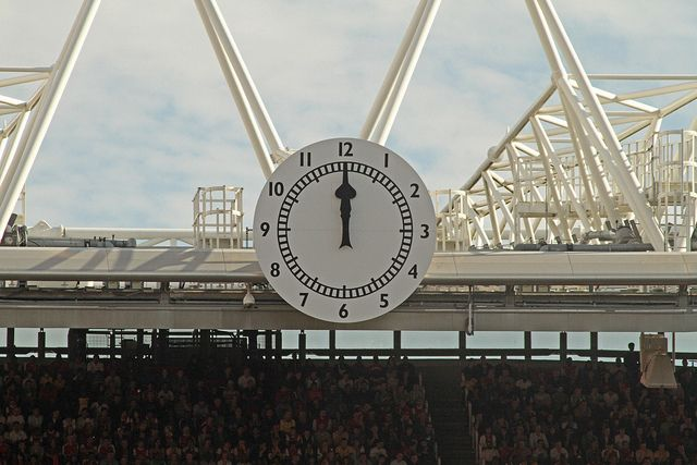 The clock end at the Arsenal Football Club's Emirates Stadium. Traditionally the clock end was for the keen supporters while the North Bank was for the fanatics in the old stadium.