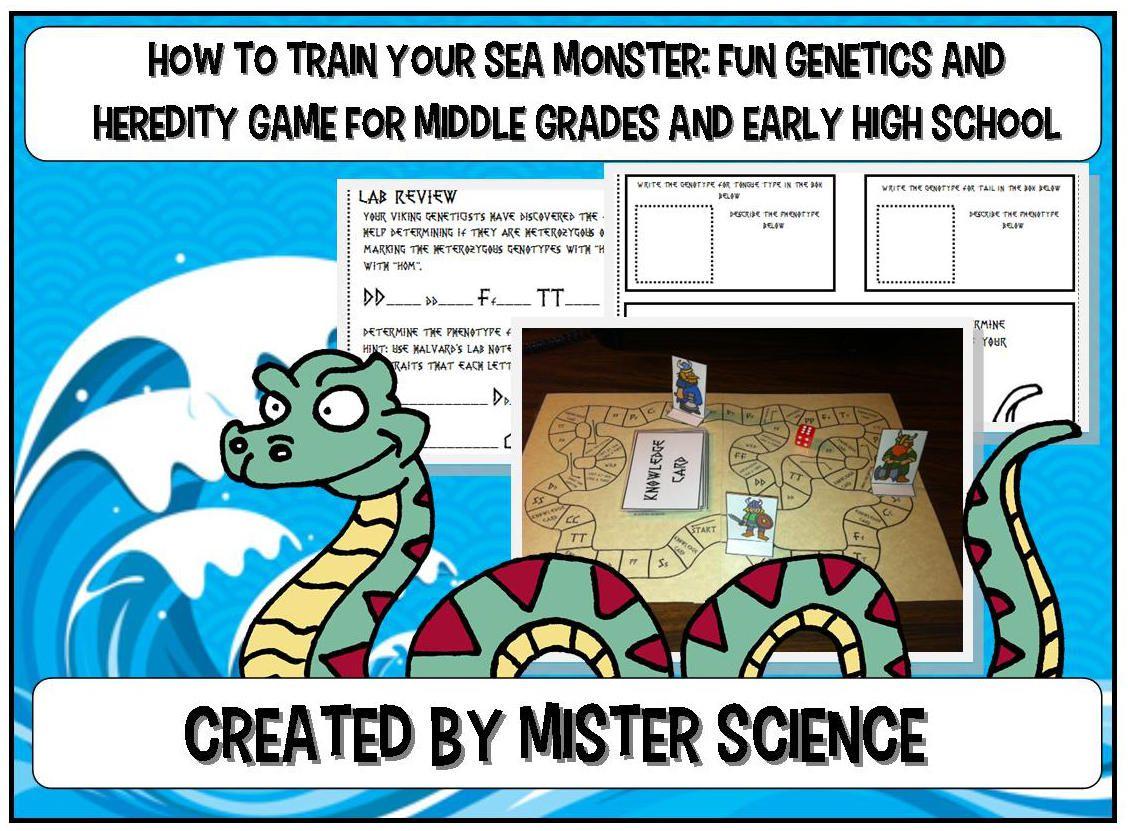 Sea Monster Genetics Heredity Game Fun 21 Pgs Keys