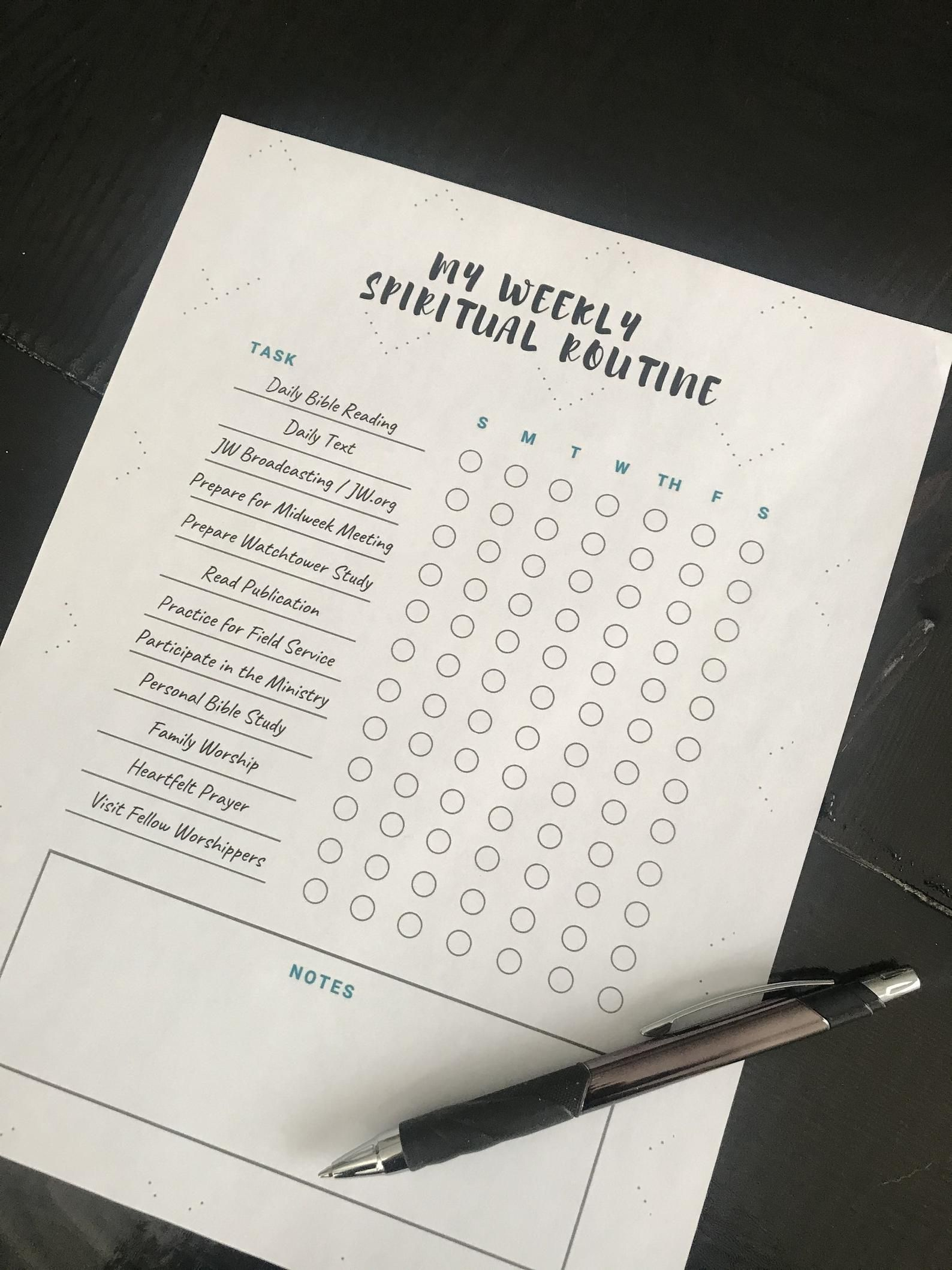 Jw Weekly Spiritual Routine Checklist Worksheet Jehovah S