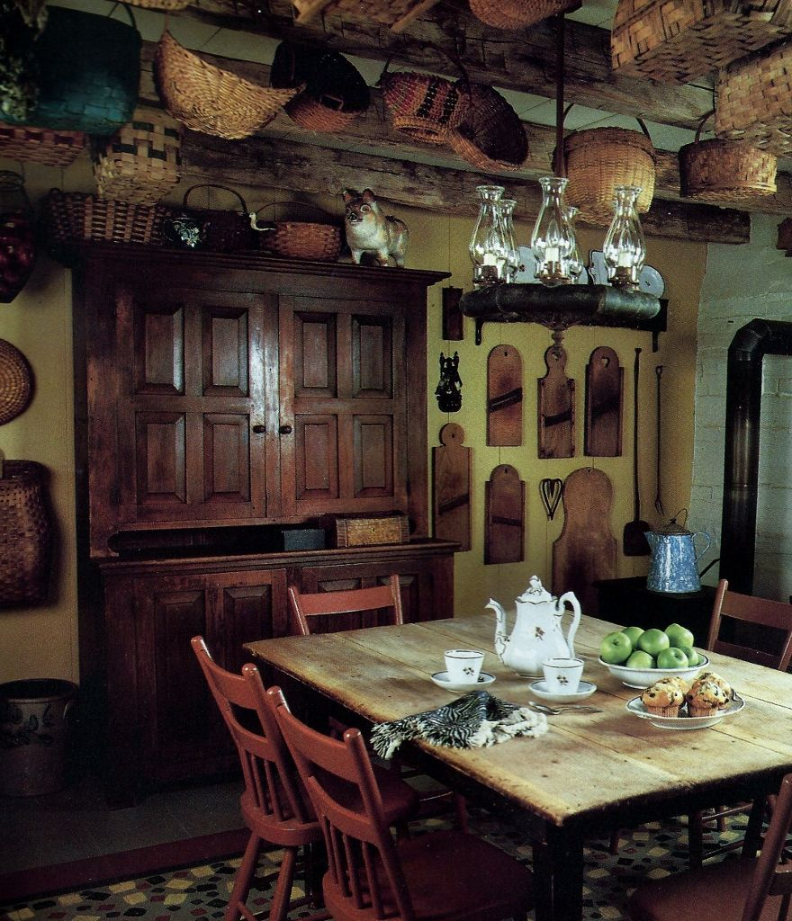 Primitive Kitchen Table And Chairs: Lots Of Baskets, Slaw Cutters, Great Cupboard, Table And