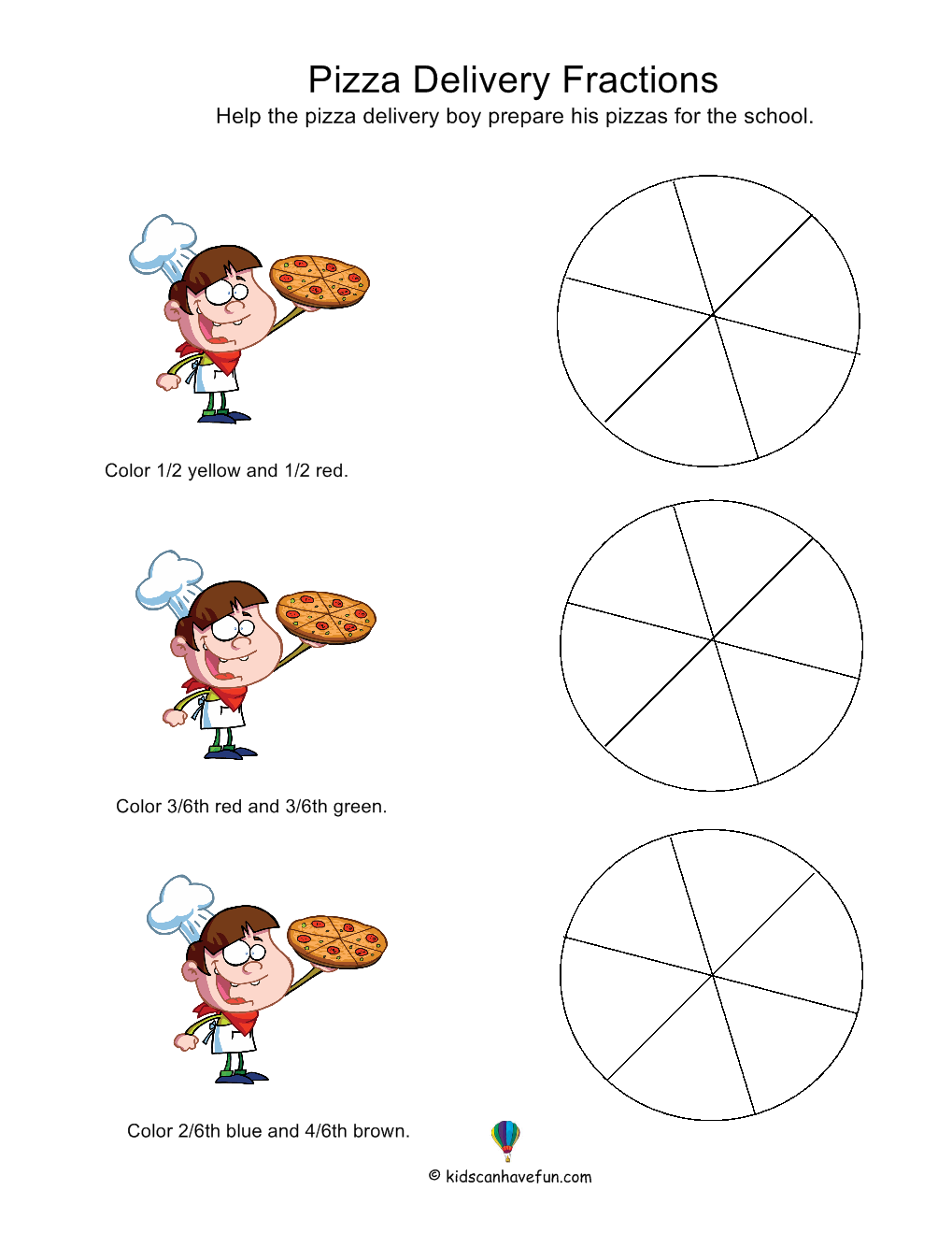 Pizza Delivery Fractions Http Www Kidscanhavefun Com Math Activities Htm Math Fractions Worksheets Kids Math Worksheets Fractions Math Worksheets