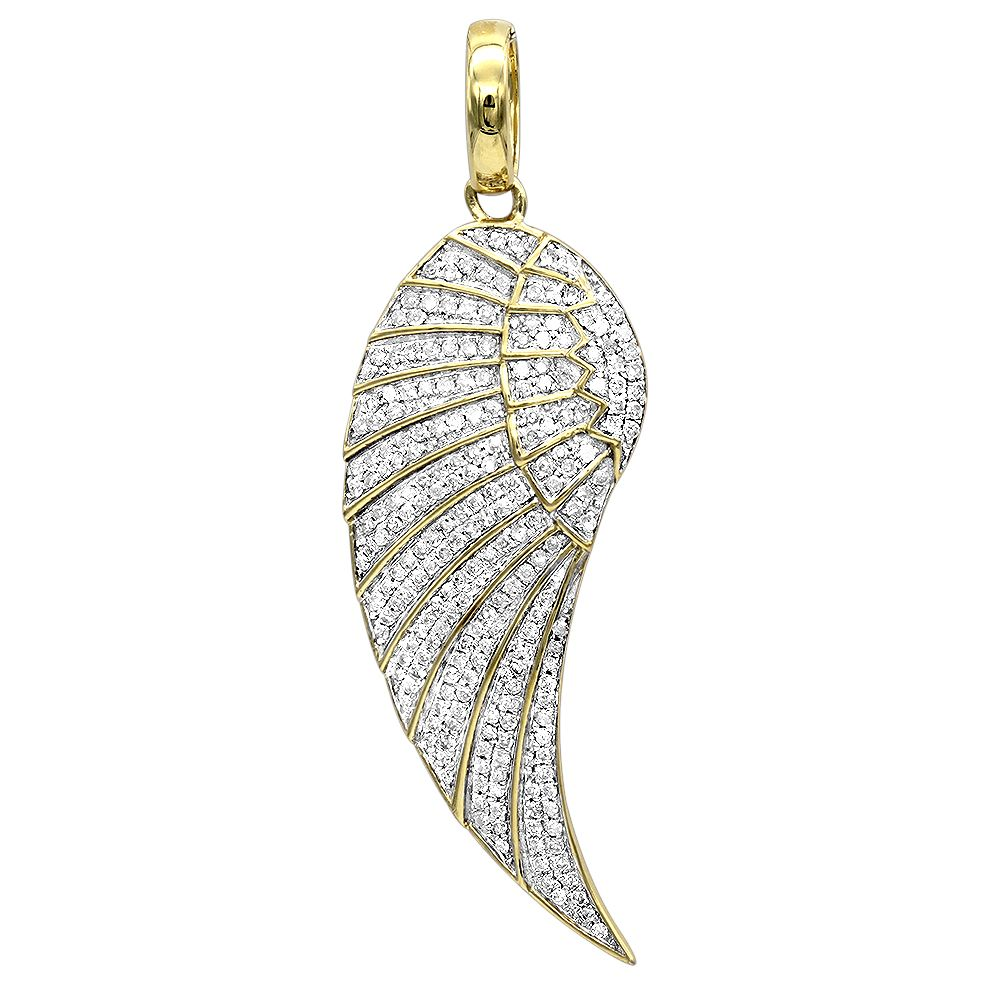 Mini 10k Gold Diamond Angel Wing Necklace Pendant 0 65ct By Luxurman Angel Wing Necklace Pendants Womens Jewelry Necklace Womens Diamond Necklace