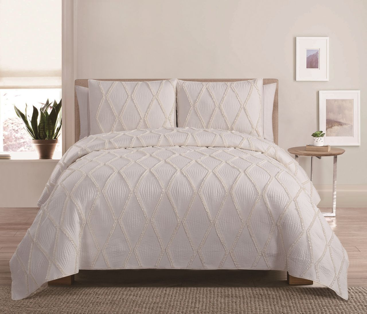 4 Piece Diamond Ruffle Ivory Quilt Set | Bedrooms | Pinterest ... : ivory quilts - Adamdwight.com