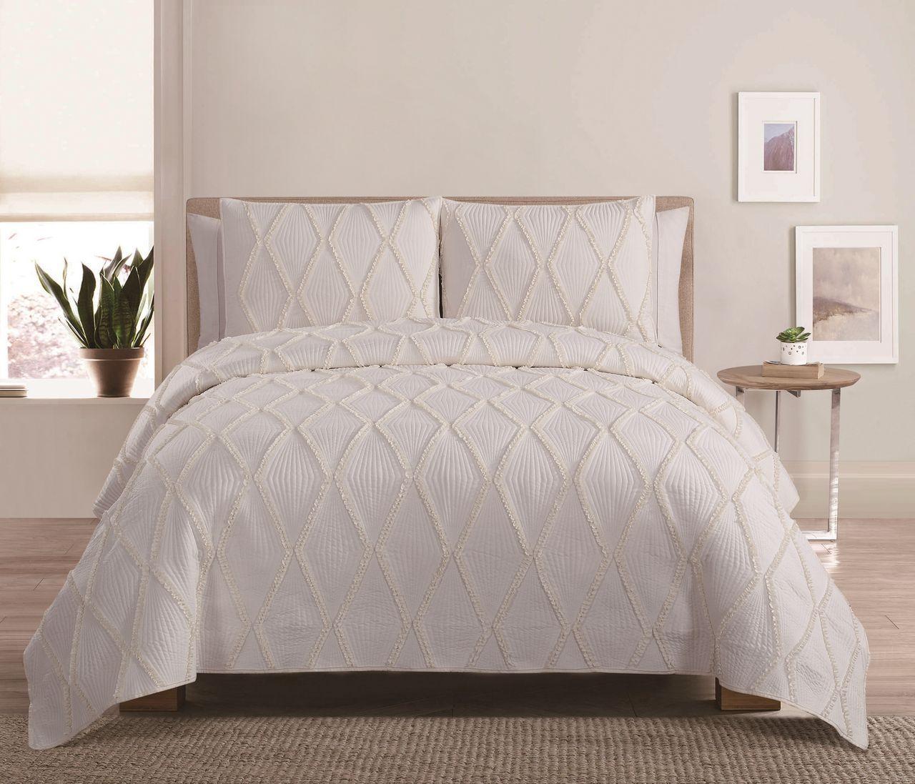 4 Piece Diamond Ruffle Ivory Quilt Set | Bedrooms | Pinterest ... : ivory quilt set - Adamdwight.com