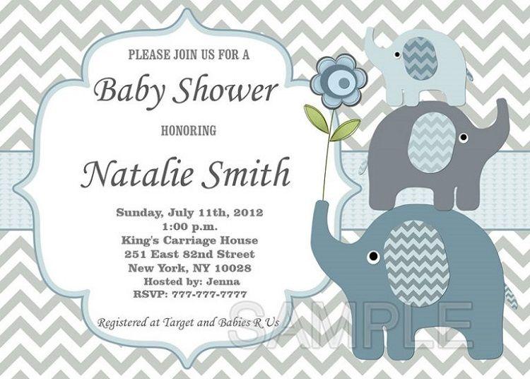 Little Elephant Baby Shower Invitations Invitation Card