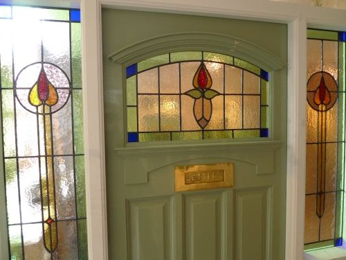 1930 S Stained Glass Front Door Complete With Frame Stained Glass Door Glass Front Door Painted Front Doors