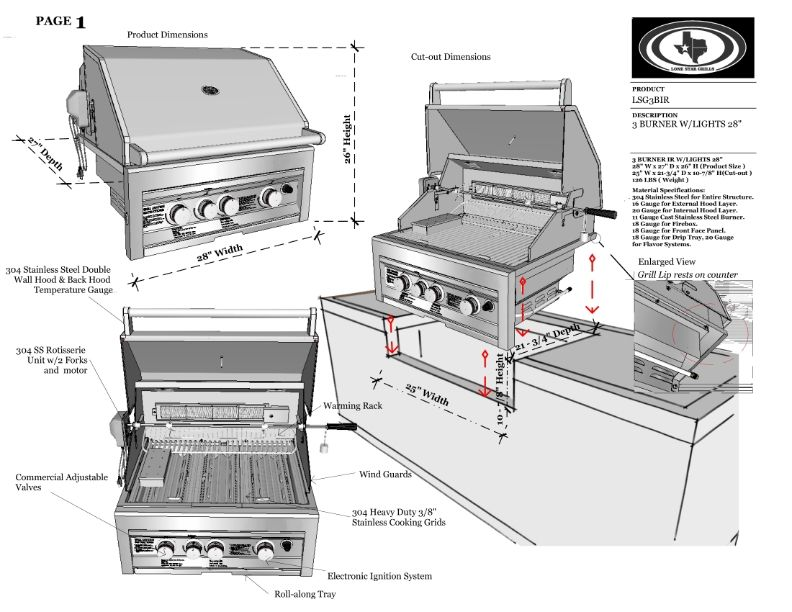 Lone Star Grill Pdf Spec Sheet With Images Built In Grill Grilling