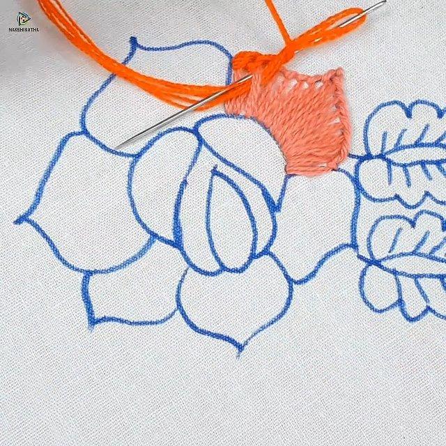 haxnd embroidery rose flower design stitching tutorial – work