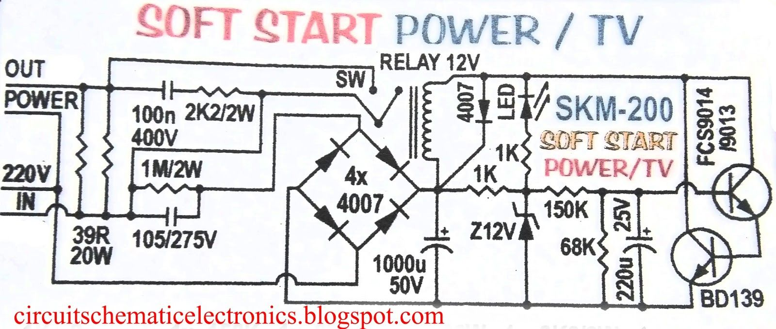 circuit diagram of soft start for electronic device [ 1600 x 679 Pixel ]
